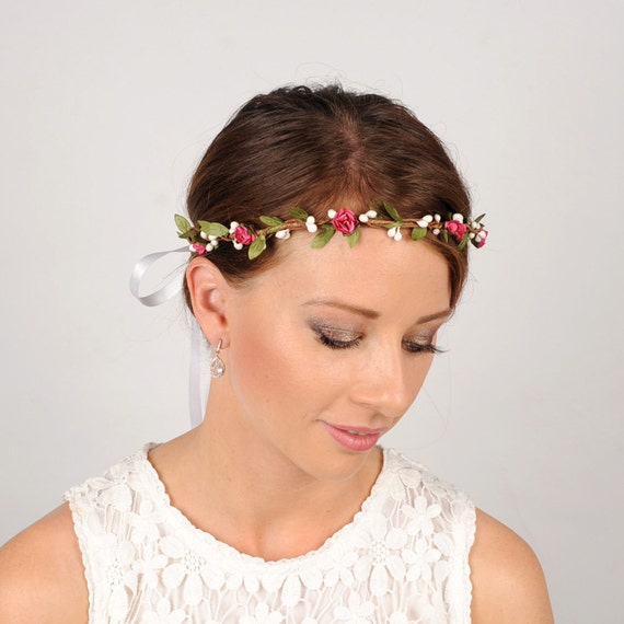 Boho Floral Headband White Flower Crown Woodland Bridal Head Piece