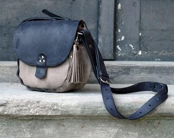 Small leather handmade handbag Mariola dark beige and navy blue