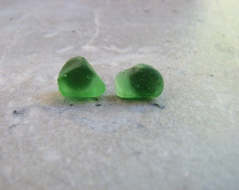Small Seaglass Stud Earrings  Green Genuine Beach Glass Earrings for Men or Women Gifts for Him Sea Glass Jewelry