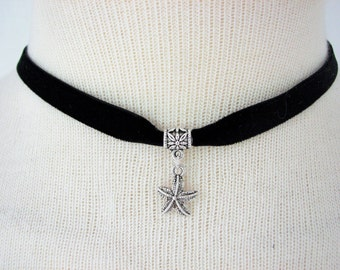 Starfish Choker, Adjustable Black Ribbon Choker Necklace, Black Collar Necklace, 90's Retro Velvet Ribbon Jewelry