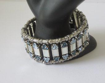 NAPIER Vintage Silver Tone Rhinestones and Mother Pearl Bracelet