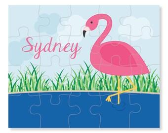 Flamingo Puzzle - Personalized Puzzle for Kids - Jigsaw Puzzle - Children Puzzles - Personalized Name Puzzle - 8 x 10 puzzle, 20 pieces