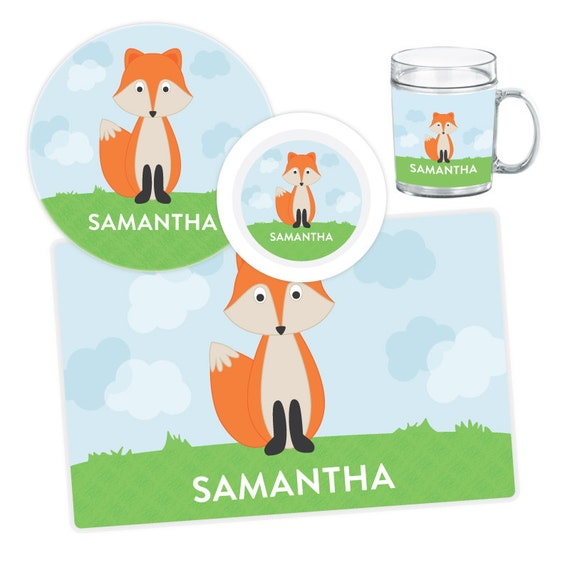 Il_570xn  sc 1 st  Catch My Party & Fox Plate Bowl Mug or Placemat - Fox Dinnerware Set - Personalized ...