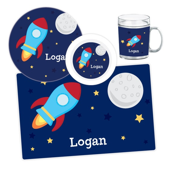 Il_570xn  sc 1 st  Catch My Party & Spaceship Plate Bowl Mug or Placemat - Spaceship Dinnerware Set ...