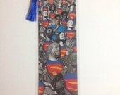 Upcycled Batman and Superman Comic Book Bookmark