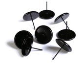 8 pieces (4 pairs) 12mm Black earstud - Spray painted black cabochon settings - fits 12mm cabochons (1643) - Flat rate shipping