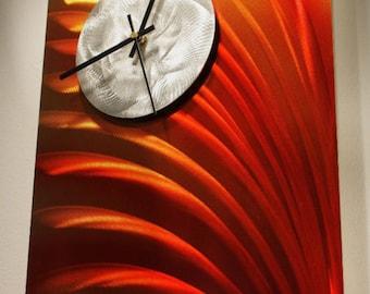 Wilmos Kovacs - Modern Art Wall Clock Painting, Metal Wall Art Clock Sculpture Art Decor, Original Art - W386