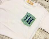 stacked Monogram pocket for Boys, pocket tee boys, baby pocket tee, monogrammed pocket shirt