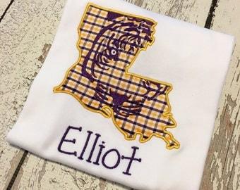 LSU Tigers Purple and Gold boys shirt, LSU tigers boy shirt, LSU Tigers purple gold boy outfit, lsu boys shirt, lsu baby shirt
