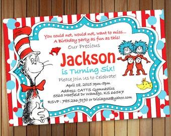 Dr Seuss Birthday invitation, Dr Seuss Invitation, Cat in the hat invitation Printable, Custom