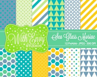 SALE  Yellow Green and Teal Digital Paper - Geometric Paper - Polka Dot Digital Paper - Striped Paper - Personal & Commercial Use