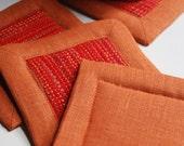 Mug Mats or Coasters Handwoven Set of Four (4)  Rusty Orange