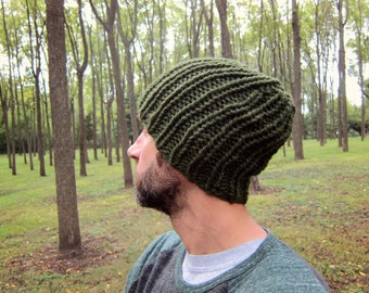 Warm Mens Beanie for Men Knit Hat Green Knitted Hats Oversized Guys Cap Slouchy Beanies Women Etsy Gifts Olive Loose Hat Handmade Chunky