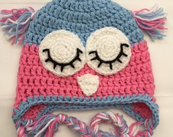 Sleepy owl hat 1-2y