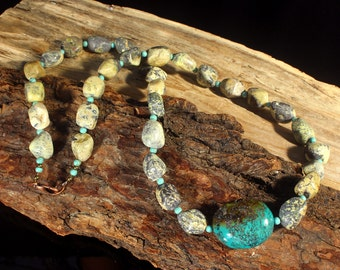 Turquoise Nugget Necklace, Mens Bead Necklace, Ethnic Jewelry, Turquoise Pendant Necklace, Earthy Necklace, Shaman Tribal Necklace, Bold