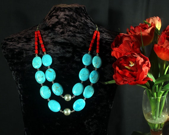 Turquoise Statement Necklace, Southwest Necklace, Multi Strand Necklace, Coral & Turquoise, Ethnic Jewelry, Natural Turquoise Stone Necklace