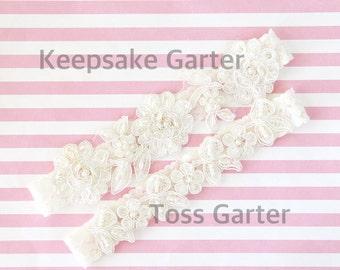 Ivory Sequins and Pearl Beaded Flower Lace Wedding Garter Set , Ivory Lace Garter Set, Toss Garter , Keepsake Garter  / GT-54
