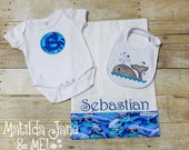 Baby Boy Coming Home Outfit Gift SET, Infant Bodysuit, Newborn Photos,Baby Shower Gift,Personalized Baby Gift,Bodysuit, Burp Cloth and Bib