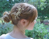 Bridal Comb, Gold, Crystal, Freshwater Pearl, Crystal Vine Headpiece.
