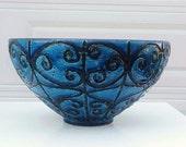 Monumental Mid Century Large Bowl Rimini Blue, Aldo Londi Bitossi Raymor Rosenthal
