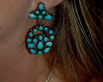 Beautiful Vintage Navajo Emma Lincoln Sleeping Beauty Turquoise Cluster Earrings
