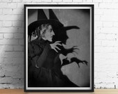 Moonlit Wicked WITCH Wizard of Oz Chalkboard Chalk Black Grey Poster Art Print Vintage Distressed Primitive Halloween 5x7 8x10 ++More Sizes