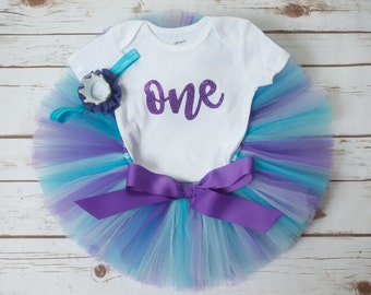 Purple and blue birthday outfit 'Audrey' purple and blue tutu set birthday tutu set girl cake smash photo outfit girl first birthday tutu