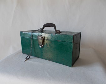 Vintage Metal Trunk- Chest Tool Box