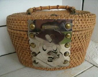 Vintage Wicker Asian Tea Pot  Basket