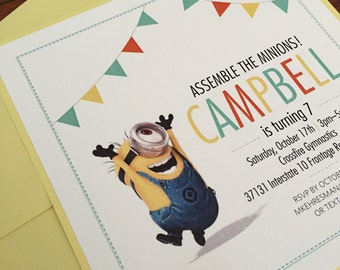 Despicable Me Minions Girls Birthday Invitation