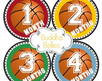 Baby Boy Basketball Monthly Stickers Sports Baby Shower Gift for New Moms - B143