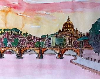 Vatican Rome Italy Sunset On River Tiber With St Peter I