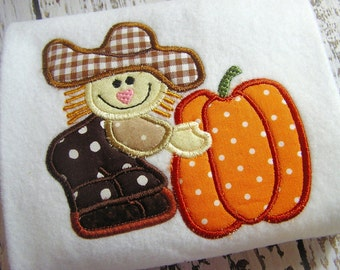 Aplique Scarecrow machine embroidery design, applique pumpkin, applique fall design, Happy fall, embroidery pumpkin, embroidery scarecrow