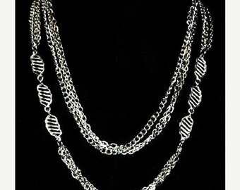 "Bohemian Boho Chain Necklace Silver Metal Leaf Decorations Bold 42"" L Vintage 1970s-80s"