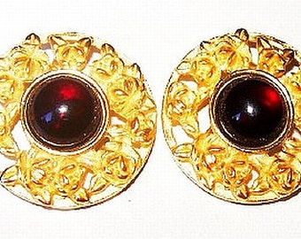 "Red Jeweled Clip On Earrings Signed LCI Liz Claiborne Gold Rose Repousse 1 1/8"" Vintage"