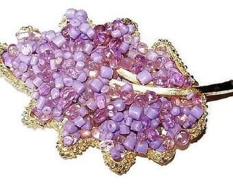"""Purple Amethyst Brooch Glass Beads Stippled Gold Metal Leaf Frame BIG 2 3/4"""" Vintage"""
