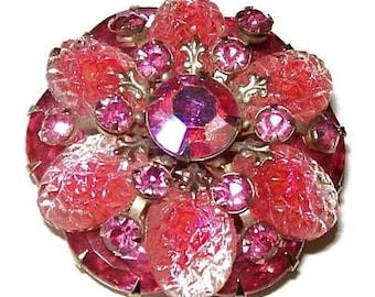"Judy Lee Brooch Pink Rhinestones Molded Art Glass Layered Gold Metal 2 1/4"" Judy Lee? Vintage"