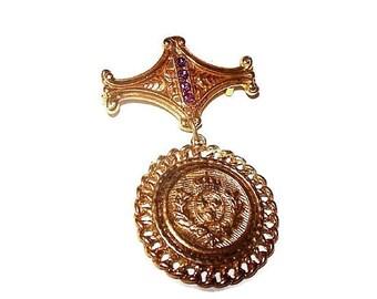 Crown Medallion Brooch Pin Dangle Style Pink Rhinestones Gold Metal 2.5 in Vintage