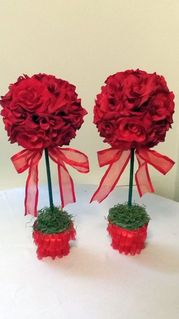 Red rose topiaries wedding flowers party centerpieces