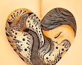 SLEEPING MERMAID (original drawing on wooden heart)