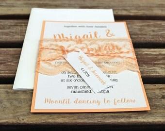 Lace Wedding Invitations. Peach Wedding Invitations, Pastel Wedding Invites, Pastel Wedding. Romantic Wedding Invitations.
