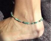 Gemstone Ankle Bracelet ~ African Turquoise, Custom Size Anklets, Handmade Anklet, Sterling, Swarovski Crystal, Gemstone, Beach Jewelry