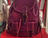 Handmade purple colour leather backpack soft dream