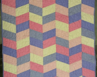 Baby Girl Crib Quilt, Herringbone Baby Quilt, Handmade Quilt, Baby Gift, Spring Quilt, Baby Shower Gift, Purple and Pink Quilt