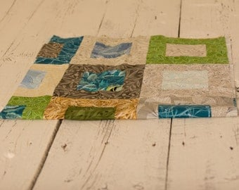 Flutter Table Topper, Small Lap Quilt, Wall Hanging, Birds of a Feather, Green, Blue and Brown Quilt, Handmade Quilt, Homemade Quilt