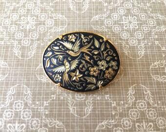 Lovely Vintage Damascene Brooch with Flying Birds Motif