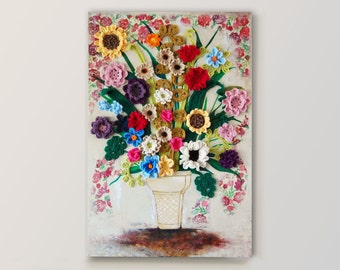 Floral Cone CROCHET + PAINTING on CANVAS, Ice Cream Cone holding Wildflowers, Mixed Media, Dimensional, Colorful