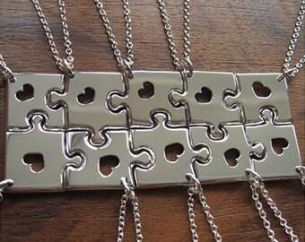 Ten Piece Puzzle Silver Pendants Necklaces