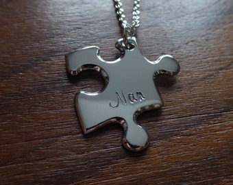 Personalised Silver Puzzle Pendant Necklace 2
