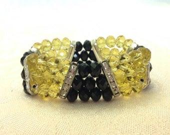 Black and Yellow Austrian Crystal Stretchy Bracelet